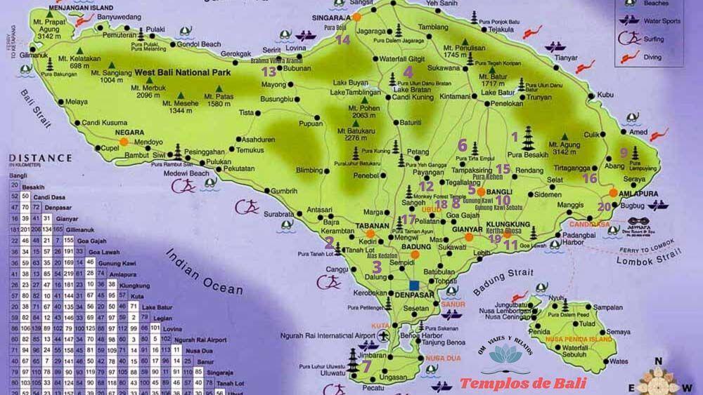 mejores-templos-de-Bali-mapa