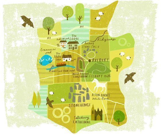 Mapa turístico del condado de Wiltshire (Inglaterra)