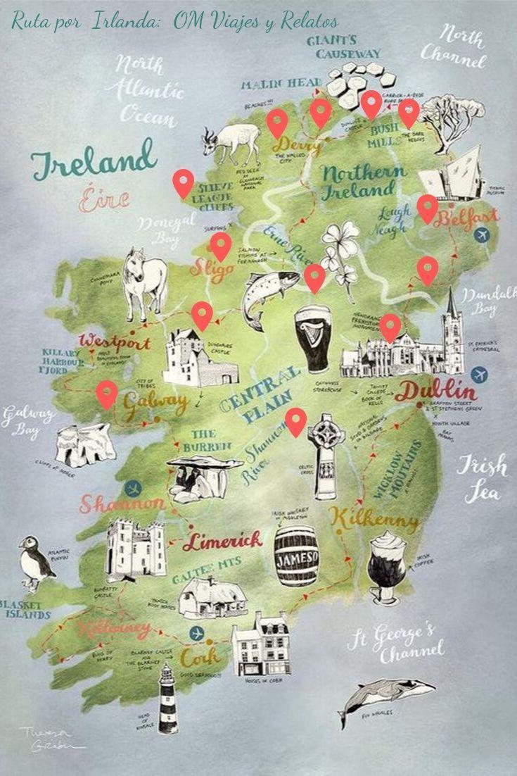 MAPA DE IRLANDA. RUTA POR IRLANDA