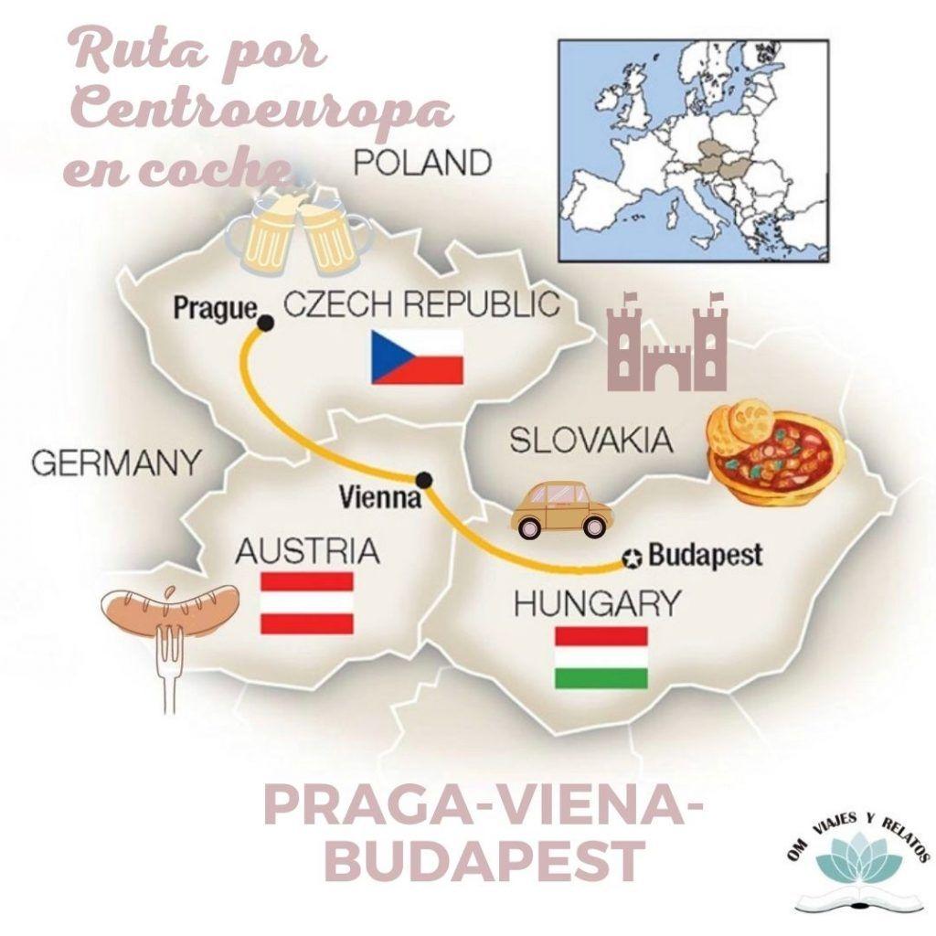 viajar-a-Praga-Viena-Budapest-mapa